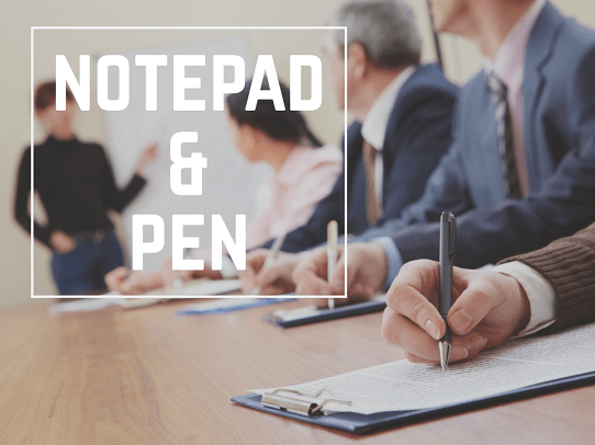 Presentation Tools & Accessories To Carry At All Times - Notepad and Pen