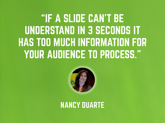 Nancy Duarte presentation tips - characteristics of a good presentation - glance test