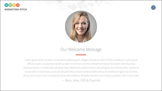 Pitch deck examples - welcome message slide