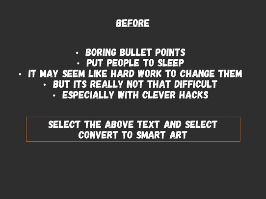 PowerPoint - tips for improving bullet points