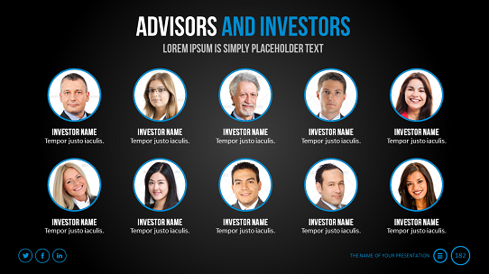 Investor pitch deck - investor presentation - example of advisors and investors slide