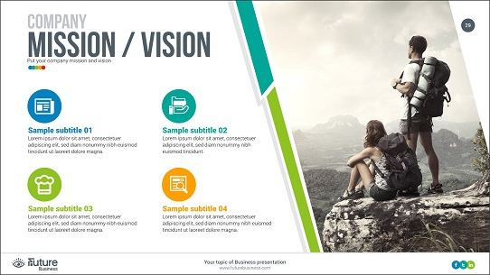 startup pitch deck tips - mission and vision slide