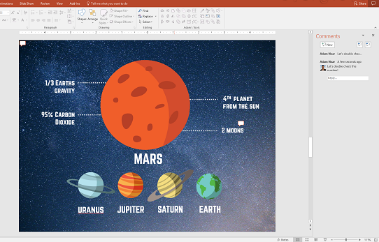 leave comments for your team with group collaboration in powerpoint 2016