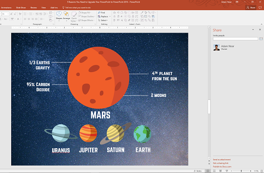 Use the powerpoint collaboration tool to share your powerpoint with team members in real time