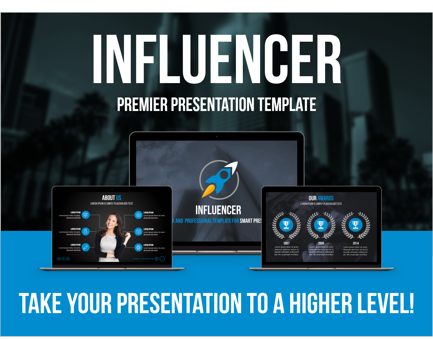 Influencer Professional Presentation Template available on Graphic River