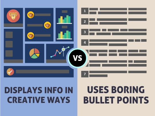 Presentation tips - use creative layouts instead of bullet points