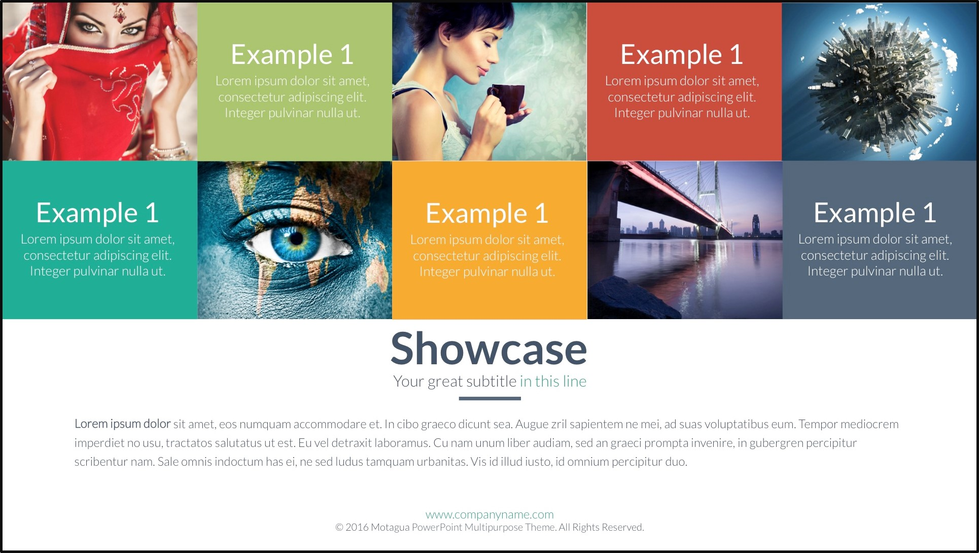 how to fix a boring powerpoint presentation - use a structured grid of images and shapes