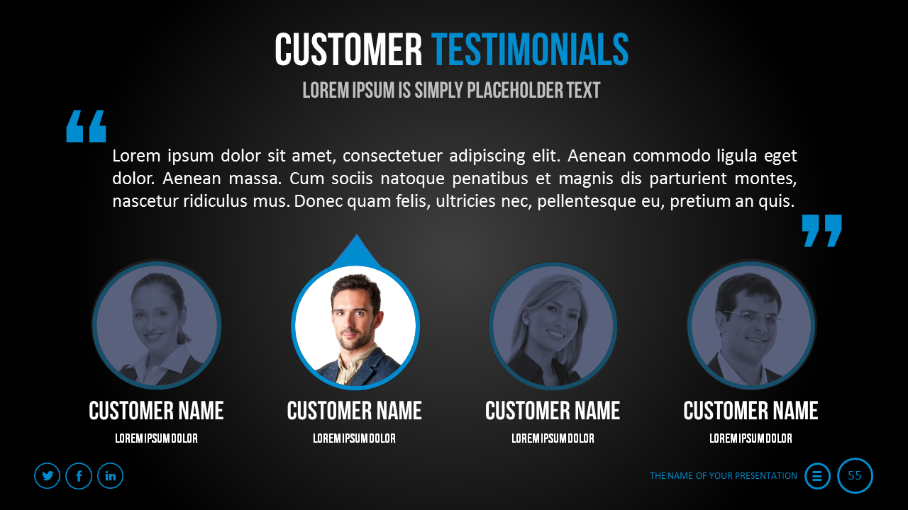 Testimonials are a great way to make your presentation more believeable